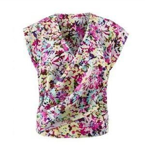 Cabi Eden Cross Over Front Floral Print Blouse •M